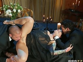 Katrina Jade fucked by two horny males in merciless XXX