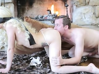 Obedient blonde fucked by the fire place in strong manners