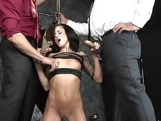 Cecilia Vega gets her tight twat spread wide open by a king dong