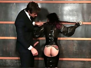 Lewd businessman hires tattooed whore Joanna Angel for steamy fuck at work