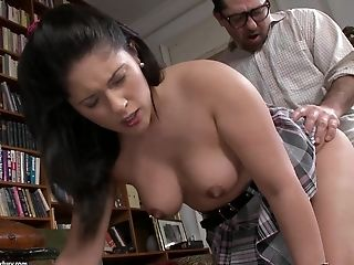 Teen schoolgirl Connie gets nailed in the library