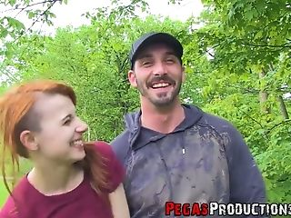 Hot quickie with red haired four eyed Canadian chick Lydya Moser in the forest