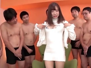 Sazanami Aya gang banged and has her face covered in cum
