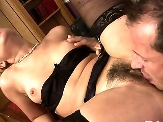 Kinky boss licks hairy pussy of slutty blond secretary in his office