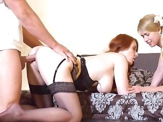 Mom gets hard fucked by girlfriend's boyfriend along side the young doll