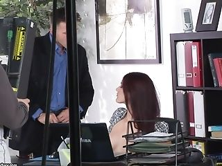 Office threesome with redhead secretary Mira Sunset