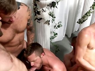 Assfucking gay orgy with tattooed dudes