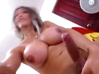 Blonde big tits big dick jerking Shemale
