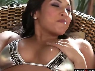 Bikini babe solo toying with her sweet asian pussy