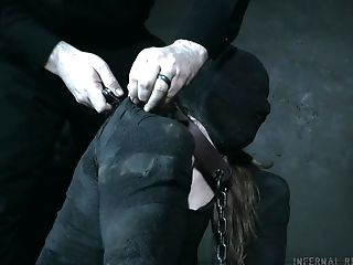 Torrid pale chick Cora Moth is blindfolded and mouthfucked during BDSM