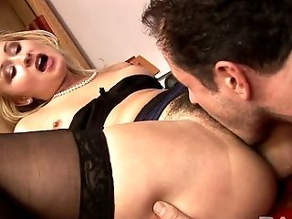 Bossy blond MILF gets her hairy muff licked a lot lying on office table
