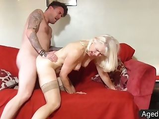 Old nanny sucks a dick and gets her worn pout pussy slammed hard