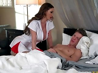 Busty brunette maid getting her slit drilled in different positions