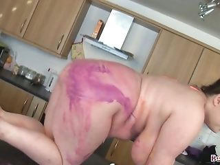 Lewd nerdy SSBBW plays with her paint covered big boobies on webcam