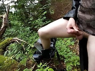 Gothicboy jerk in the wood