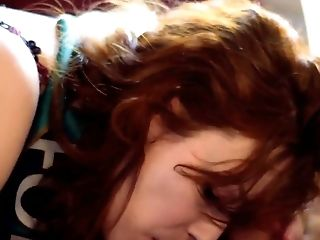 Stunning Irish beauty with red hair gives great blowjob