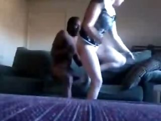 Pallid big bottomed lady of my friend was ready for interracial sex