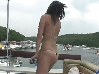 Crazy chicks go wild on the pier and on the yacht