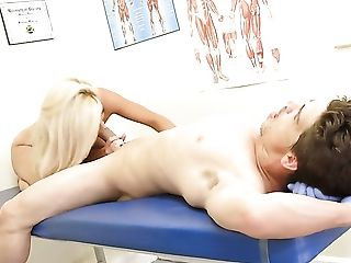 Bruce Venture makes Blonde gag on his thick meat stick