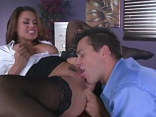 Premium milf in black stockings extreme sex at the office