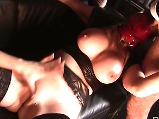 Kinky dude fucks blonde and whore in latex mask and stockings