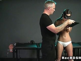 Tied up slave deep throat banged bondage vibrator